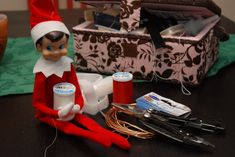 'Hack Your Elf '   I have collected about 10 Christmas Elves, way before they became popular this last year.....they are all so cute with their impish grins :)    I put them all out this last Christmas, how much fun!  This is a good tutorial to make your Christmas Elf bendable and grippy for easier and fun poses!