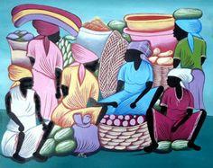 Pintura haitiana haitianas bailarines arte de la por TropicAccents