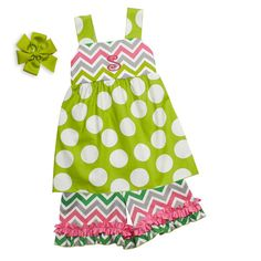 Lolly Wolly Doodle Girl's Lime Dot Bright Chevron Ruffle Short Set.  Available at lollywollydoodle.com