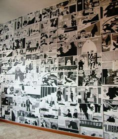 DIY Comic Book/Graphic Novel Wall.From Aunt Peaches here.From Aunt Peach's blog:  Rebecca used a regular black and white copy machin...