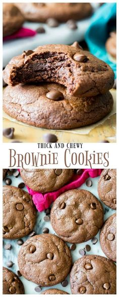 Thick, chewy, supremely chocolatey BROWNIE COOKIES! Made with 3 types of chocolate, these are so decadent and better than regular brownies! #brownies #cookies # #baking #recipe #chocolate via @sugarspunrun