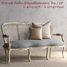 chairs - Feminine vintage settee with a weathered antique white finish and light slate blue upholstery Cane back has some small flaws x x Height Height BR Return PolicyBR This item is not eligible for returns Retro Sofa, Vintage Sofa, Vintage Furniture, Vintage French Decor, Antique French Furniture, Antique Chairs, Retro Vintage, Home Decor Furniture, Sofa Furniture