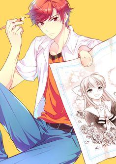 Mikoshiba Mikoto Anime: Gekkan Shoujo Nozaki-kun Artist: winglayer (https:/. Cute Anime Boy, Hot Anime Guys, Anime Love, Belle Cosplay, Manga Boy, Manga Anime, Anime Art, Inu X Boku Ss, Monthly Girls' Nozaki Kun