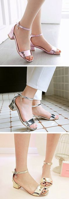 Mirror metallic ankle strap block heel sandals. These shiny shoes are chic and pretty — so cute paired with summer dresses and midi skirts! The low heel gives a little height without sacrificing comfort. Get these affordable summer shoes in pink, silver or gold. #anklestrapsheelschic #anklestrapsheelswithdress #sandalsheelslow #goldanklestrapsheels #silveranklestrapsheels #anklestrapsheelslow