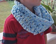 Boys Cowl Scarf Blue Fleece Chunky Single Handmade by LavishHoops Cowl Scarf, Cowls, Scarfs, Trending Outfits, Crochet, Unique Jewelry, Handmade Gifts, Blue, Etsy