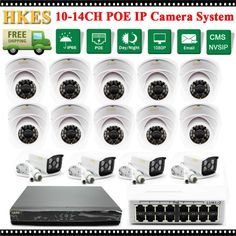 497.99$  Buy now - http://ali8w5.worldwells.pw/go.php?t=32783446872 - HKES HD 1080P 2MP Bullet IP Camera POE Switch 14CH Video Security Surveillance System 16Ch 1080P NVR Recorder System Kit 16 CH 497.99$