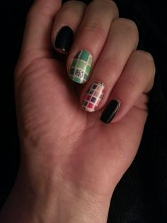 Colored checkerboard nail art