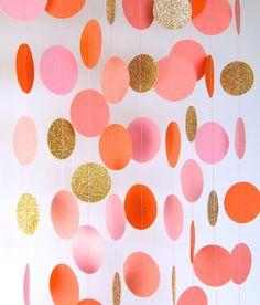 Guirlande, guirlande en papier dans le fard à joues rose, Orange, corail et or, nuptiale de douche, douche de bébé, décorations de fête, anniversaire Decor par TheLittleThingsEV sur Etsy https://www.etsy.com/fr/listing/185114133/guirlande-guirlande-en-papier-dans-le