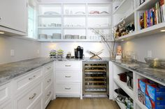 Open and closed shelves  Walk Through Butler's Pantry Design Ideas, Pictures, Remodel and Decor
