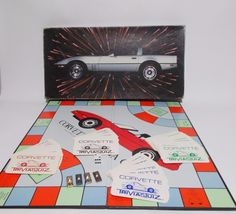 Corvette car trivia game from 1985. For 2 to 4 players, ages 8 and up. Has board, one dice, cards and 4 metal car playing pieces. Good condition and complete. Box lid has one torn corner and wear to edges and corners.   eBay!