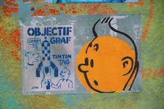 Tintin graffiti in Paris by JPM Graffiti