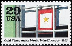 Stamp: Banner in window (Gold Stars mark World War II losses) (United States of America) (World War II) Mi:US 2373,Sn:US 2765i,Yt:US 2176
