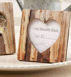 This woodsy, heartwarming place card/photo frame is both charming and #rustic! David's Bridal Style 25111NA.