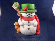"""Frosty Snowman Christmas Music Box Ceramic Plays Jingle Bells 5.25"""" Vintage http://stores.ebay.com/snpshakers"""