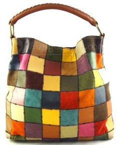 Lucky Brand Leather Patchwork Color Handbag Purse