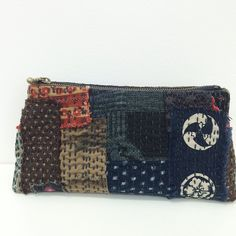 Stitching worked while in Japan a few weeks ago. Now writing instructions as there have been requests. Pattern will include 2 sizes. boro japanesefabric kofu bebebold  purses  sashiko handmade