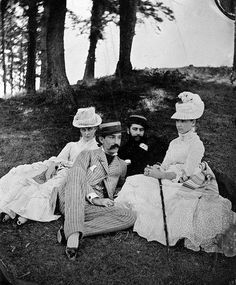 New York aristocrats enjoying an afternoon outdoors - probably 1870s.
