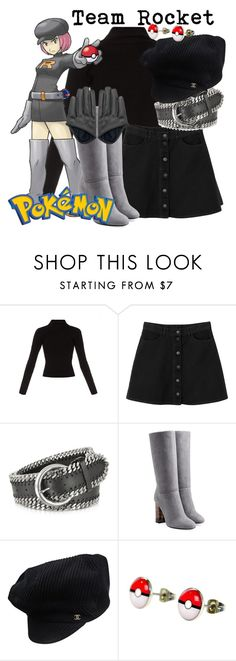"""""""pokemon - Team Rocket"""" by didneyworl ❤ liked on Polyvore featuring Haider Ackermann, Monki, Forzieri, Burberry and Chanel"""