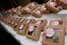 Sandra @ ribbonsandfavors.com  Favor or gift cookies. Boxed up and ready to go in a natural kraft window box with a nice satin ribbon and handcrafted tags.