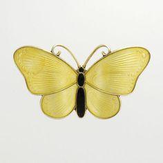 Vintage 50's Silver Enamel Butterfly Brooch/Pin - IVAR T HOLT - Norway