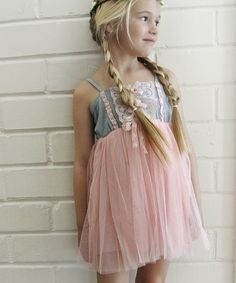 This Pink & Denim Lace & Tulle Dress - Toddler & Girls is perfect! #zulilyfinds