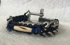 Handmade men's Carved Bone Genuine Blue Lapis Stone HexNut Black Leather…