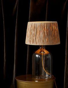 Glass Table Lamp With Raffia Shade Brass Table Lamps, Gold Table, Table Desk, Home Accessories Stores, Boho Lighting, Modern Industrial, Industrial Desk, Leaf Table