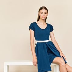 Dress in stretch gabardine, lined with cotton.Side pockets and back zipper.Click to ...