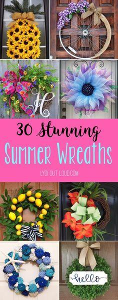 30 Stunning Summer Wreaths to Buy or DIY! #summerwreaths #diywreaths #summerdecor #summercrafts