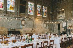 wedding reception in an abandoned church, photo by McKinley-Rodgers http://ruffledblog.com/1920s-inspired-wedding-in-london #receptions #weddingideas