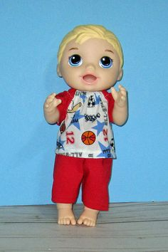 Baby a Live Baby Alive Doll Clothes, Boy Doll Clothes, Baby Alive Dolls, Baby Dolls, Boys Summer Outfits, Summer Boy, Sport Outfits, Sewing Dolls, Baby Car Seats