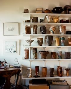 June Schwarcz - collection of enamel ware in the artist's home, photo by Leslie Williamson