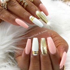 Are you looking for acrylic coffin nails art designs that are excellent for your new acrylic coffin nails designs this year? See our collection full of acrylic coffin nails art designs ideas and get inspired! Hot Nails, Pink Nails, Hair And Nails, Pink White Nails, Fabulous Nails, Gorgeous Nails, Colorful Nail Designs, Nail Art Designs, New Nail Designs 2017