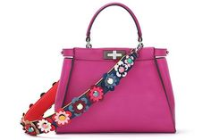 Bright pink and tons of flowers. More is more. #refinery29 http://www.refinery29.com/2015/09/94671/fendi-bag-straps-spring-16#slide-2