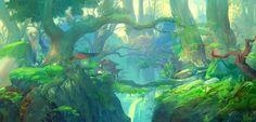Art by Jae-Cheol Park a. Environment Painting, Environment Concept Art, Environment Design, Fantasy Landscape, Fantasy Art, Landscape Illustration, Illustration Art, Fantasy Setting, Cg Art