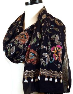 Black Chiffon Scarf Embroidered Shawl Beaded Shawl by MiriTextiles, $40.00