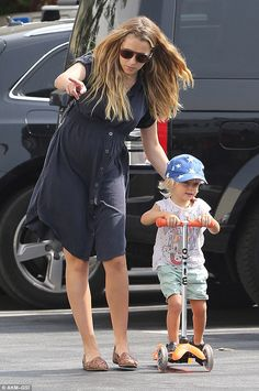 Pushy parent: The Australian model and actress, was seen pushing her son along on a scooter Teresa Palmer, Australian Models, Two Year Olds, Baby Bumps, Navy Dress, Sons, Parenting, Celebs, Actresses