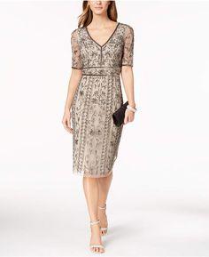 ccb5f40df9c Adrianna Papell V-Neck Beaded Mesh Dress Women - Dresses - Macy s