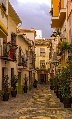 Old Spanish street - Malaga city, Old town, Spain.