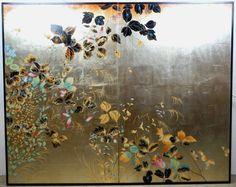 Japanese Two fold Silk Screen. Wall panel. $1,250.00, via Etsy.