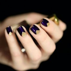 Royal purple and gold triangle nails