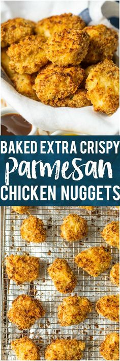 These BAKED EXTRA CRISPY PARMESAN CHICKEN NUGGETS will blow your mind and become an instant family favorite. Made healthier by baking instead of frying, you'll never miss the grease. Kids and adults will be requesting these flavorful cheesy nuggets again and again! #kidfriendly #healthy #skinny #baked #chicken #cheese #parmesan via @beckygallhardin