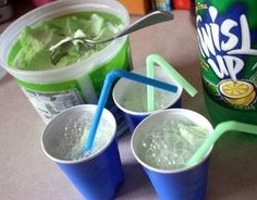 Green sherbet and Sprite make fun Grinch-inspired drinks for the kids.