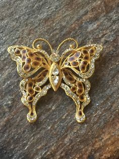 Large Butterfly Brooch Animal Print Butterfly by PassingTides