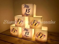 fanal 7x7cm souvenirs ceremonia velas 15 años vela led Quince Themes, Sweet 15, Pink Butterfly, Candles, Tableware, 15 Years, Confirmation, Everything, Amor