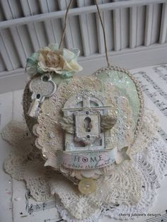 shabby chic altered LARGE paper mache heart WINDOW by cherryjn, $24.50
