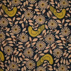 Kokka Birds & Flowers Blue 1/2 METRE