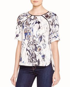 Cooper & Ella Lucy Faux Leather-Trimmed Marble-Print Tee