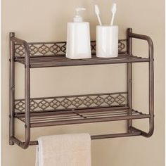 Morocco Wall Mounting 2 Tier Shelf With Towel Bar By Neu Home Rack Bathroom