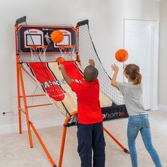 Deco Home Find out which of your friends and family have the top shots and highest scores! With basketball hoops, go head-to-head and choose from game modes including beat the time clock, horse, left vs right, and much more. This indoor basketball game has two electronic sensors that record scoring for both nets and up to 4 players. The strong return cloth is both lightweight and able to handle the toughest competitions - it even looks like a real basketball court! Including a handy guide… Chino Hills Basketball, Arcade Basketball, Indoor Basketball, Basketball Games, Basketball Court, Games W, Time Clock, Family Game Night, Home Deco